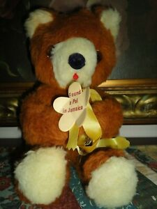 Antique Jamaica Tongue Bear Fuzzy Pals Made by Jammar 11 inch