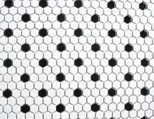 White w/ Black Mixed Hexagon Porcelain Mosaic, One Box (10 pcs) Floor and Wall