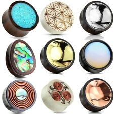 Ear gauges stretched ear plugs Organic Wood flesh tunnels Usa pairs