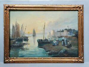 Ancien Tableau / Huile sur Toile signée GROOTERS  bateau , marine , bretagne ...