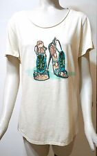 NWT $69 Chico's Short Sleeve Embellished Stiletto Tee Top, Cream