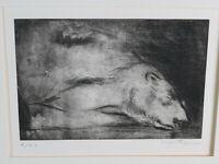 Hansjörg Wagner (1930-2013) - Radierung eines schlafenden Eisbären um 1970