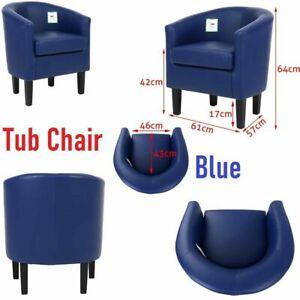Modern Tub Chair Faux PU Leather Armchair Occasional Accent Sofa Arm Chair Blue