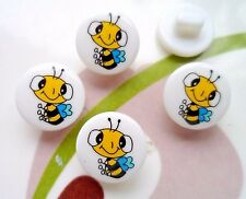 20pcs Buttons Novelty Theme Dress It Up Round Baby Bee Paint Sewing Kids 12mm