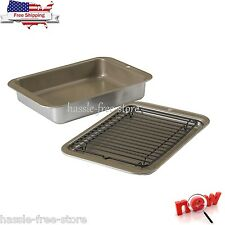 Small Toaster-Oven Baking Set Pan Bake Cake Broil Grill Broiler Drain Rack Tray