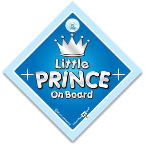 Little Prince On Board Car Sign, Suction Cup Baby On Board Sign For Princes