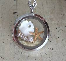 Floating charm locket ocean beach necklace Pendant natural Starfish sand dollar