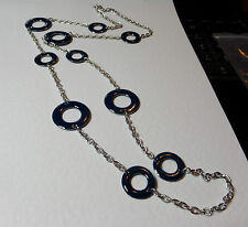 "LOVELY BLUE ENAMEL RINGS LONG SILVER PLATED CHAIN NECKLACE 35"" 90 cm"