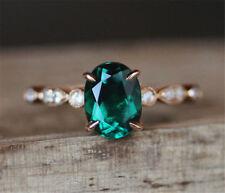 Treated Oval Emerald Engagement Ring 14K Rose Gold Art Deco Diamond Wedding Band
