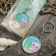 Flip Flop Keychain With Dome Top Beach Themed Bridal Shower Wedding Favors