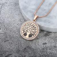 Baum des Lebens Rund Klein Anhänger Halskette Gold Silber Farben SchmRn%g eoHpr