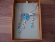 Silver necklace with turquoise stone flower pendent & drop earrings, Buckingham