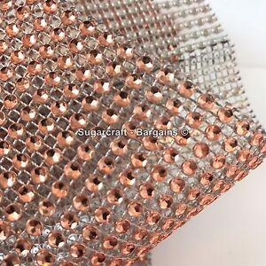 ROSE GOLD Diamante Effect Mesh Ribbon Wedding Bridal Rhinestones Cake Crystal