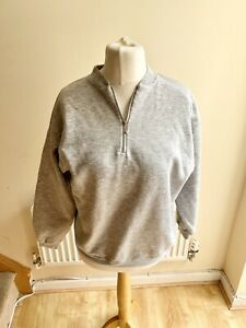Vintage Grey Hustler Sweatshirt Ball Zip 90s Retro Style