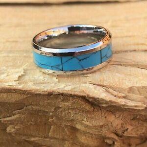 Light Blue Turquoise Ring Stainless Steel Band Wedding Boho Size 6 7 9 Women T11