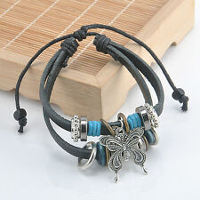 Handmade NEW Infinity Leather Charm Bracelet Silver lots Beads Style Jewelry