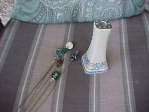 Vintage Hand Painted Nippon Hat Pin Holder with 5 Stunning Hat Pins