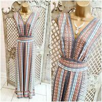 MAX STUDIO @ JOHN LEWIS UK L Geometric Print Slinky Stretch Maxi Dress
