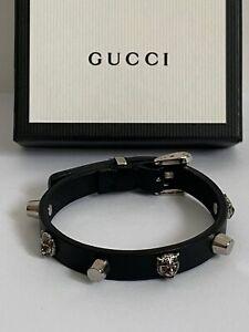 NIB Gucci Feline Head Studded Black Leather Silver Adjustable Cuff Bracelet $490