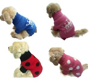 Polka Dot Lady Bug Dog Sweater Puppy Coat Soft Thick Warm Cute Pink Red