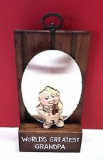Vintage Wallace Berrie Worlds Greatest Grandpa Wall Plaque & Mirror 70s Novelty