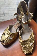 Vtg 30's 40's Vintage Gold Lame Peep Toe Pin-up Shoes 5 B 1930s 1940s Vlv Dance