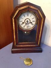 Antique Early Ingraham Parlor Clock Cottage Gothic Octagon Style