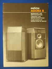 REVOX AGORA B SERVICE OPERATING USER MANUAL FACTORY ORIGINAL THE REAL THING