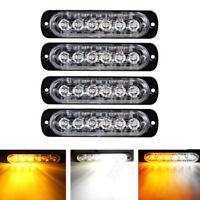4pcs Amber White Car Truck 6 LED Flash Emergency Hazard Warning Strobe Light Bar