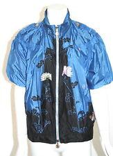 Roberto Cavalli Windbreaker Jacket Coat Sz 40 Blue Floral Print