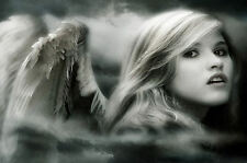 Framed Print - Beautiful Black & White Gothic Angel in the Mist (Picture Print)