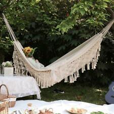 New listing Boho Tassel Nest Hammock Swing Chair Bed Brazilian Macrame Fringed Net 2 Person