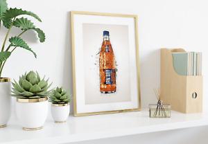 Irn Bru Glass Bottle Wall Print | A4 | Gift | Home Decor | Scottish Scotland