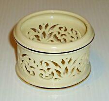 Lenox Votive Candle Holder, Pierced Ivory Porcelain with Gold Trim
