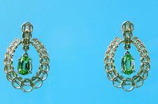 Vintage Look 14K Yellow Gold Peridot Victorian Style Drop Chandelier Earrings