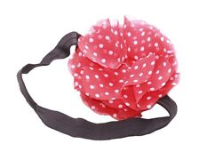 Adorable & 80's Inspired- White Polka Dots & Red Rose /Elastic Hair Band(Zx291)