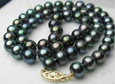 """AAA 18"""" 9-10mm natural tahitian black peacock round pearl necklace DA25"""
