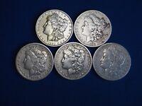 1878-1904 Morgan Silver Dollars F-VF (Fine-Very Fine) Pre-1921 Lot of 5 Coins