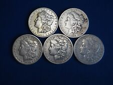 1878-1904 Morgan Silver Dollars F-VF (Fine-Very Fine) Pre-1921 Lot of 5 Coins