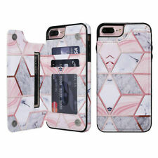 For iPhone 11 Pro XR X 7 8 Marble Leather Flip Wallet Card Holder Case Cover