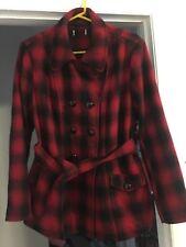 6cf392fb ZARA Coat M Red Black Plaid Double Breasted Fun Wool Blend Jacket Tie  Waistline