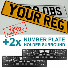 Pair Standard Pressed Number Plates Metal Car MOT Compliant REG Road Legal 100%