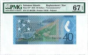 "Solomon Islands 40$ P37* 2018 PMG 67 EPQ s/n X/1 001238 ""Replacement"" Polymer"
