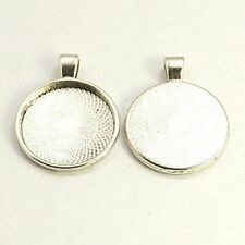 5pcs Antique Silver Pendant Cabochon Blank Settings DIY Findings for Jewelry