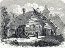 Antique print : house russian village Wolga , Volga river Russia 1883