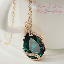 18K Rose Gold GF Made With Swarovski Crystal Emerald Crossover Teardrop Necklace