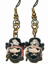 CERAMIC PIRATE DANGLE EARRINGS (D127)