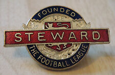 THE FOOTBALL LEAGUE STEWARD Badge Brooch pin 41mm x 26mm Undated Blue & red