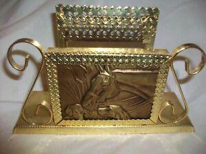 Vintage Gold Metal Napkin Holder Horse Dogs