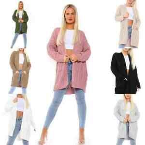 Women's Cable Knitted Long Sleeve 2 Pocket Open Front Ladies Slouchy Cardigan